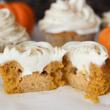 Pumpkin pie filled cupcakes with cream cheese icing!