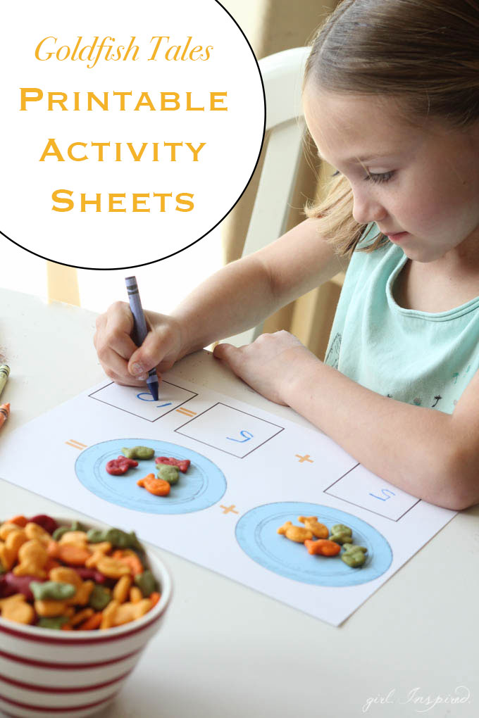 Goldfish Tales Printable Activity Sheets - math, coloring, sorting - free printables for restaurants, home, and more!