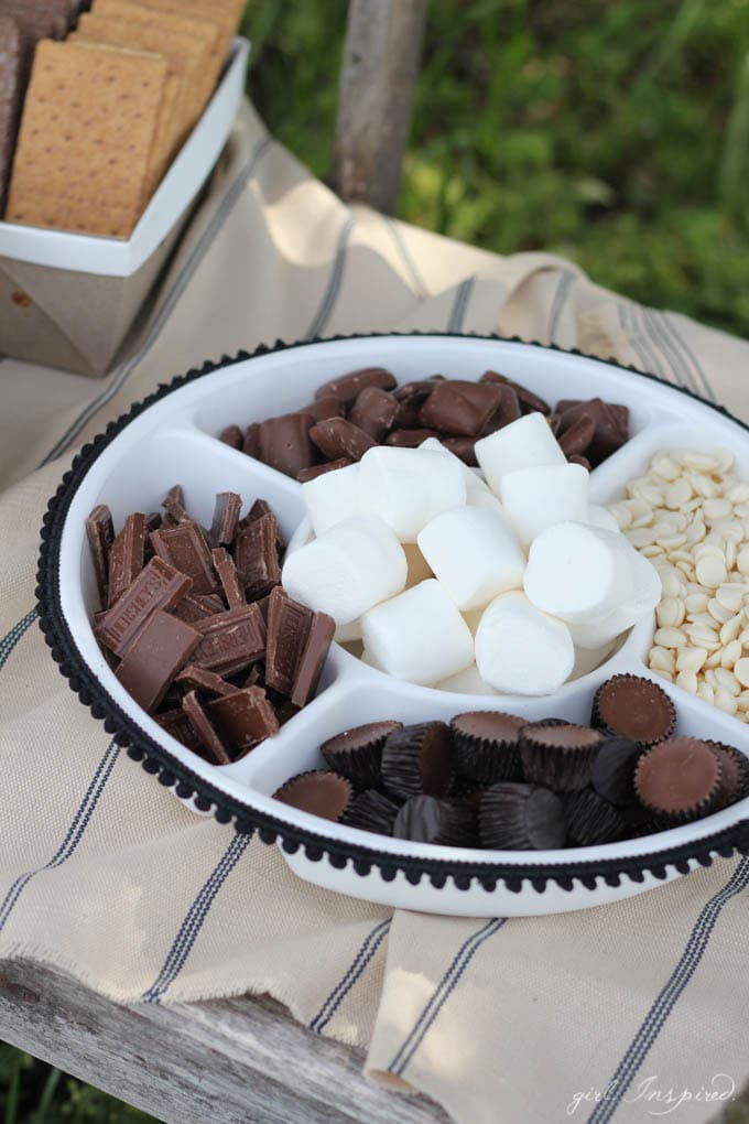 S'Mores Party - load all the s'mores fixin's into a chip and dip tray!