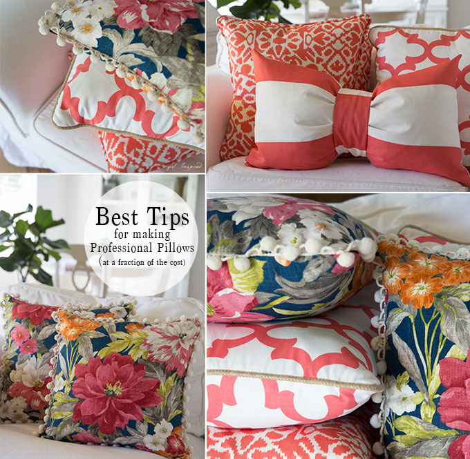 photo collage of finished blue floral and coral/white throw pillows