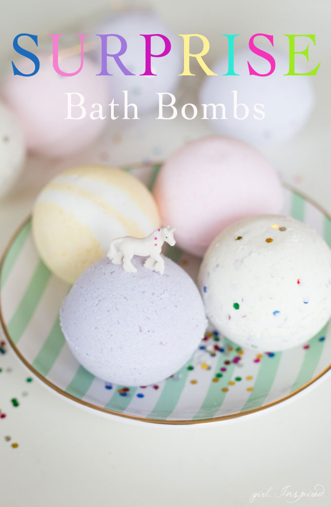 Make surprise DIY bath bombs even more awesome by adding confetti and/or small toys for the most awesome kid's bath experience!
