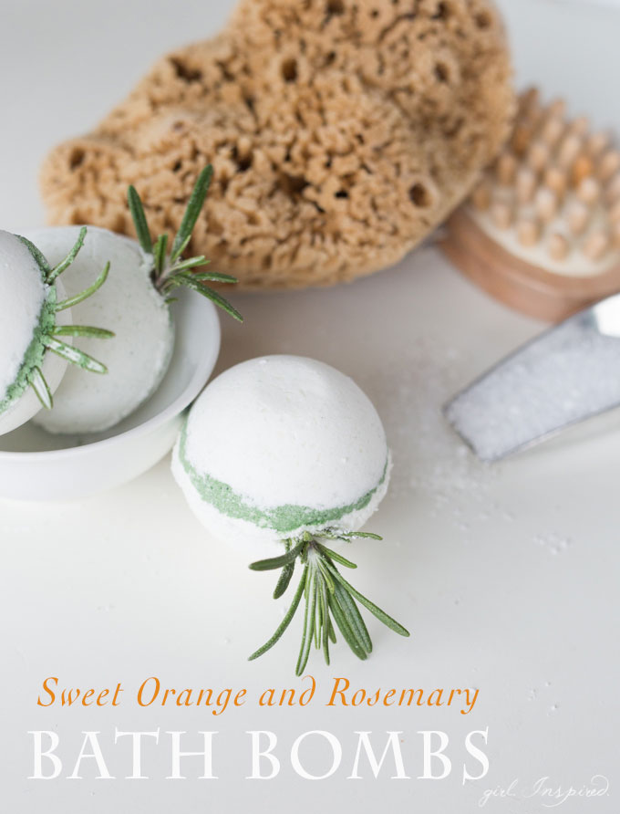 These DIY Sweet Orange and Rosemary bath bombs are so much fun to make and provide an indulgent refreshing and brightening bath experience.