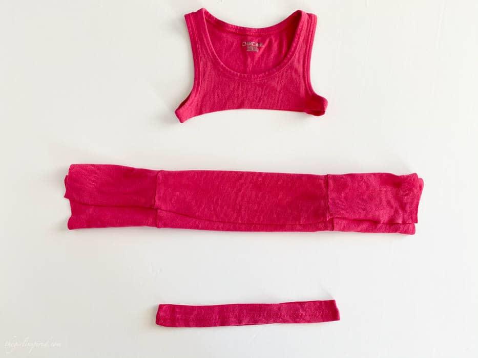 pink t-shirt fabric folded