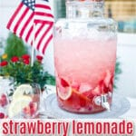 strawberry sangria in large glass drink dispenser on pedestal stand with text overlay