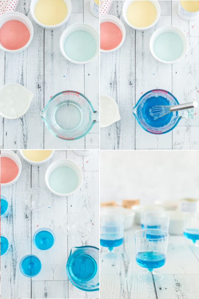 photo collage with steps to mix and pour blue jello into cups