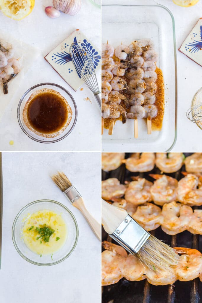 step by step 4 photo collage showing shrimp marinade with whisk in glass bowl, marinade poured over shrimp skewers in glass baking dish, bowl of melted butter, and brushing butter on shrimp skewers on grill
