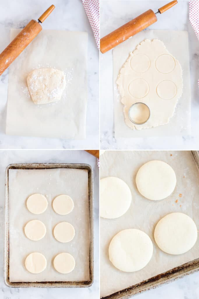 photo collage showing cookie dough wrapped in plastic wrap, rolled out on parchment paper, cut into rounds, set and baked on baking sheet