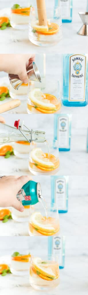 photo collage with step by step photos adding lemon and orange slices, and basil, gin, soda water, and simple syrup to low ball glass