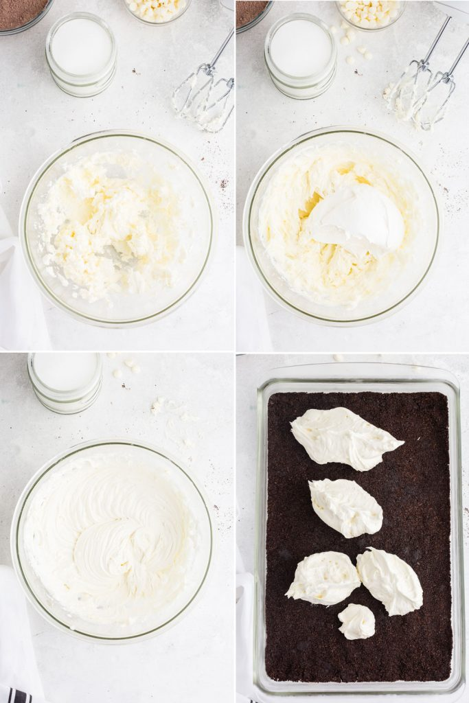photo collage showing process of beating together cream cheese and Cool Whip and layering on crust