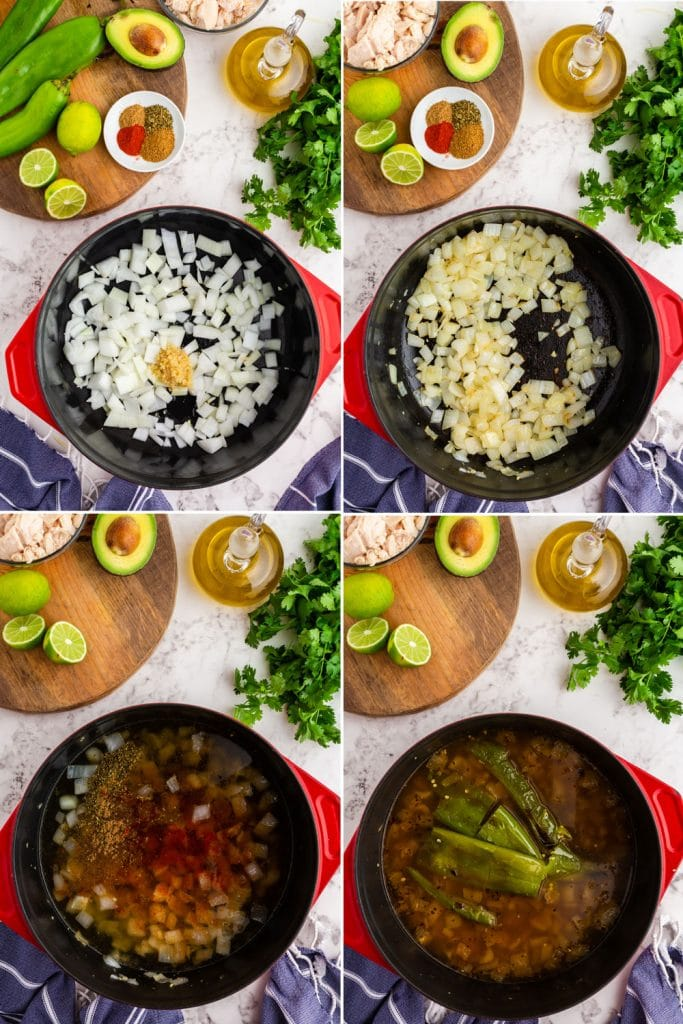 step by step photos showing onion and seasoning sauteed in red stock pot, broth and chiles added to the pot