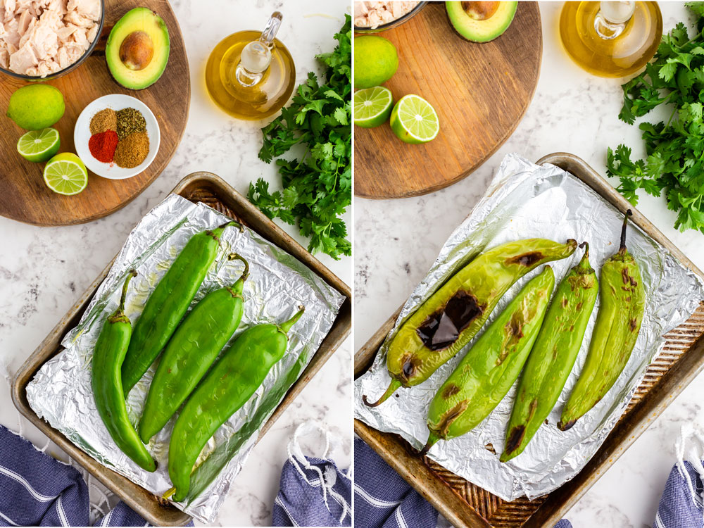 side by side photos of green chiles on roasting pan before and after being roasted