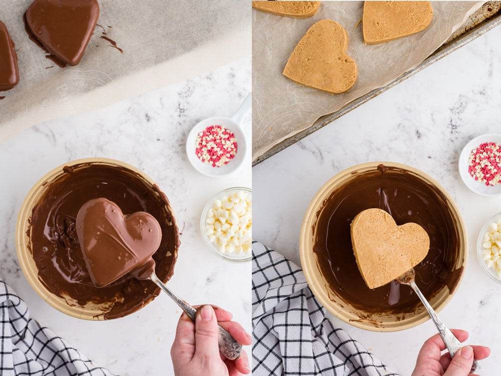 side by side photos of peanut butter heart before and after dipping into bowl of melted chocolate