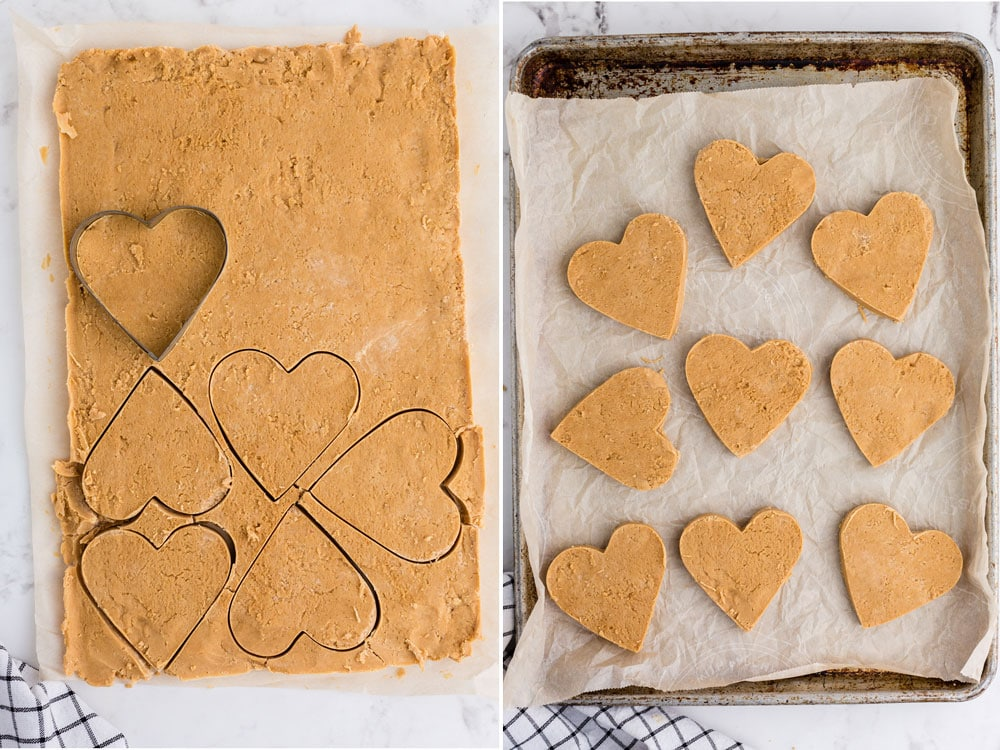 side by side photos of cookie cutter cutting out heart shapes from peanut butter layer and then peanut butter hearts spread in baking pan