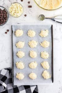 coconut balls placed on sheet pan