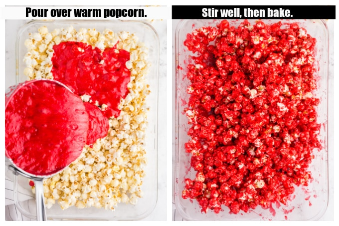 mixture being poured over popcorn and baking dish with stirred red popcorn