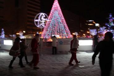 Santas walking around town