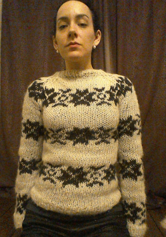 Home knitted version of Sarah Lund's jumper