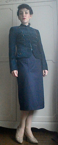 Navy jacket and pencil skirt