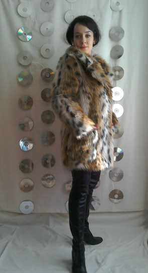 Fur coat and thigh high boots Tara King inspired Avengers