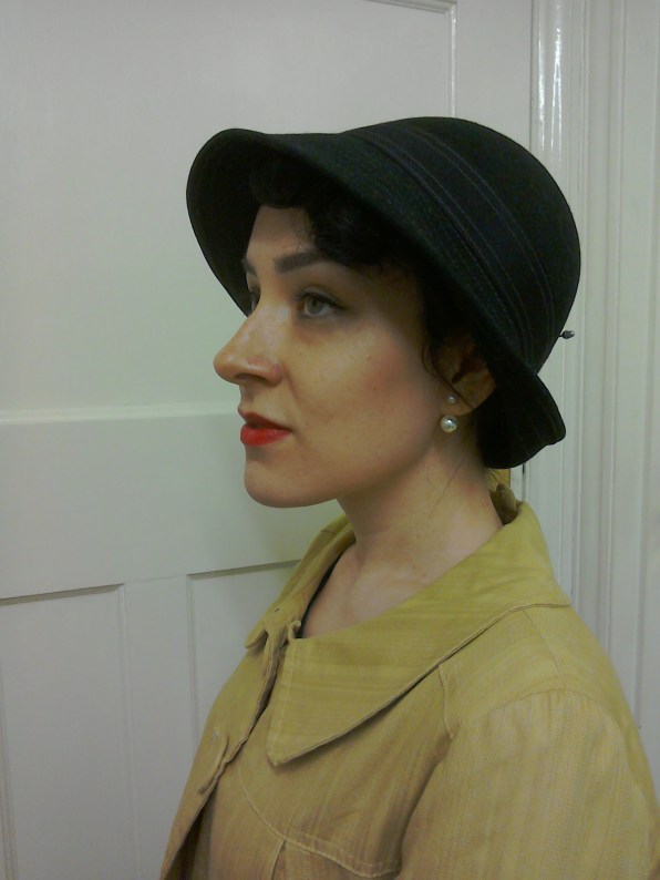 Felt cloche with folded brim at back