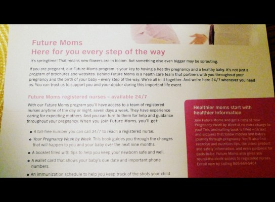 Future Moms Junk Mail Blue Cross Targeted Mail to Thirtysomethings Not Pregnant