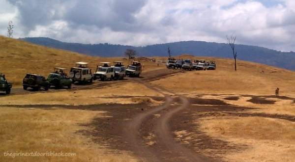 Line of Safari Jeeps Ngorogoro Crater Tanzania | The Girl Next Door is Black
