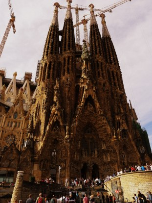 Famous Spanish Architect, Antoni Gaudi's impressive basicalla cathedral, La Sagrada Familia in Barcelona. Construction began in the late 19th century and probably will not be finished until the mid-21st century.