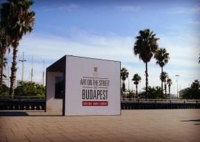 An art exhibit alongside the promenade