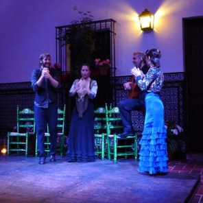 Flamenco dancing is often improvised, but choreographed performances are developed for tourists. There were two dancers, a singer, a guitarist and the all four used their hands to clap rhythmically.