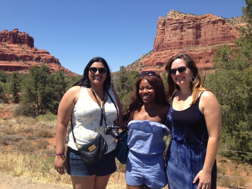 girls in Sedona red rock