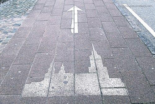 Castle ahead sign to Kronborg Denmark