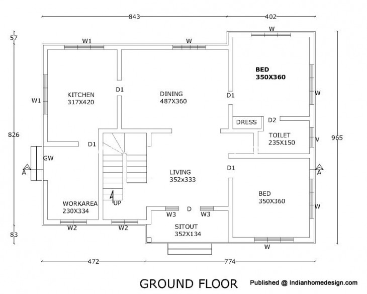 2300 sqft 211 sqm rcc house floor plan2d viewssectional details ground floor plan 730x584 the for Arkitek home plans