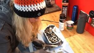 Harley-Davidson Sportster cam case customisation file edges for smooth finish