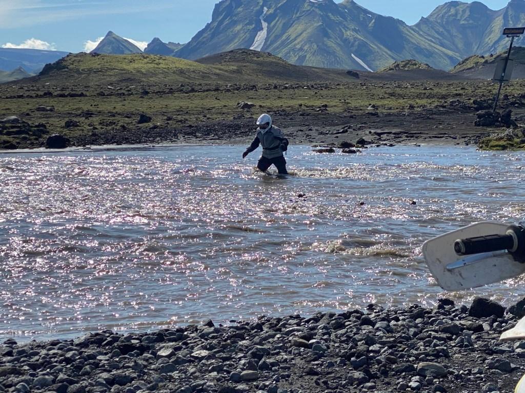 Mini viking scoping the river depth