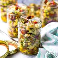 Mediterranean Chickpea Salad Jars (Video!)