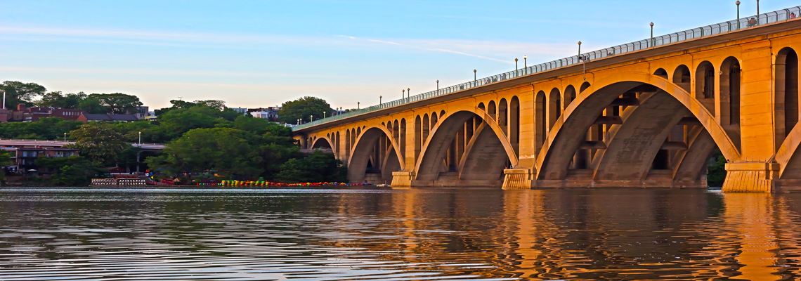The Key Bridge connects Georgetown in Washington, D.C. to Arlington, VA
