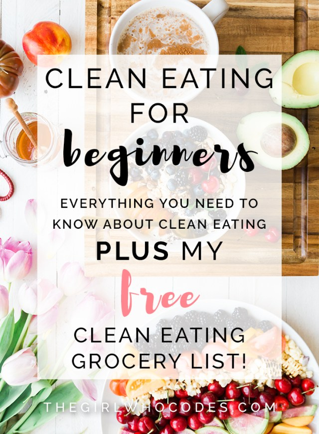 Clean Eating For Beginners - Everything you need to know about clean eating PLUS FREE Printable Clean Eating Grocery List