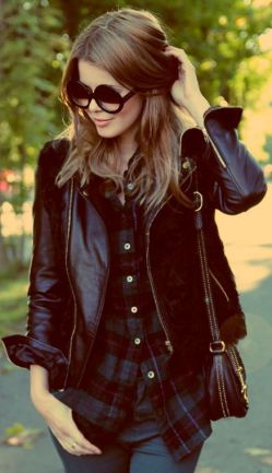 street-style-leather-plaid