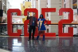 Starlord and Ms. Marvel (Kamala Khan) in front of the giant C2E2 letters