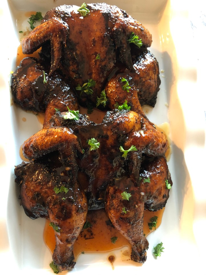 Jerk Sweet Chili Cornish Hens