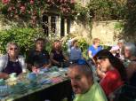 Students enjoying a well earned break for a delicious cream tea at Stowford Manor Farm.