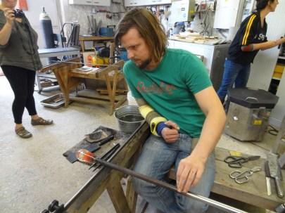 James Devereux Preparing Glass for Skull