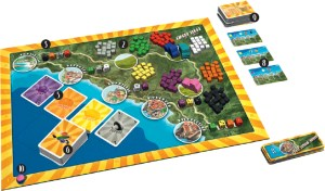 Cinque Terre board set up for 3 players