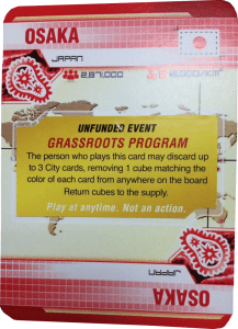 Pandemic Legacy sample City card with Unfunded Event sticker