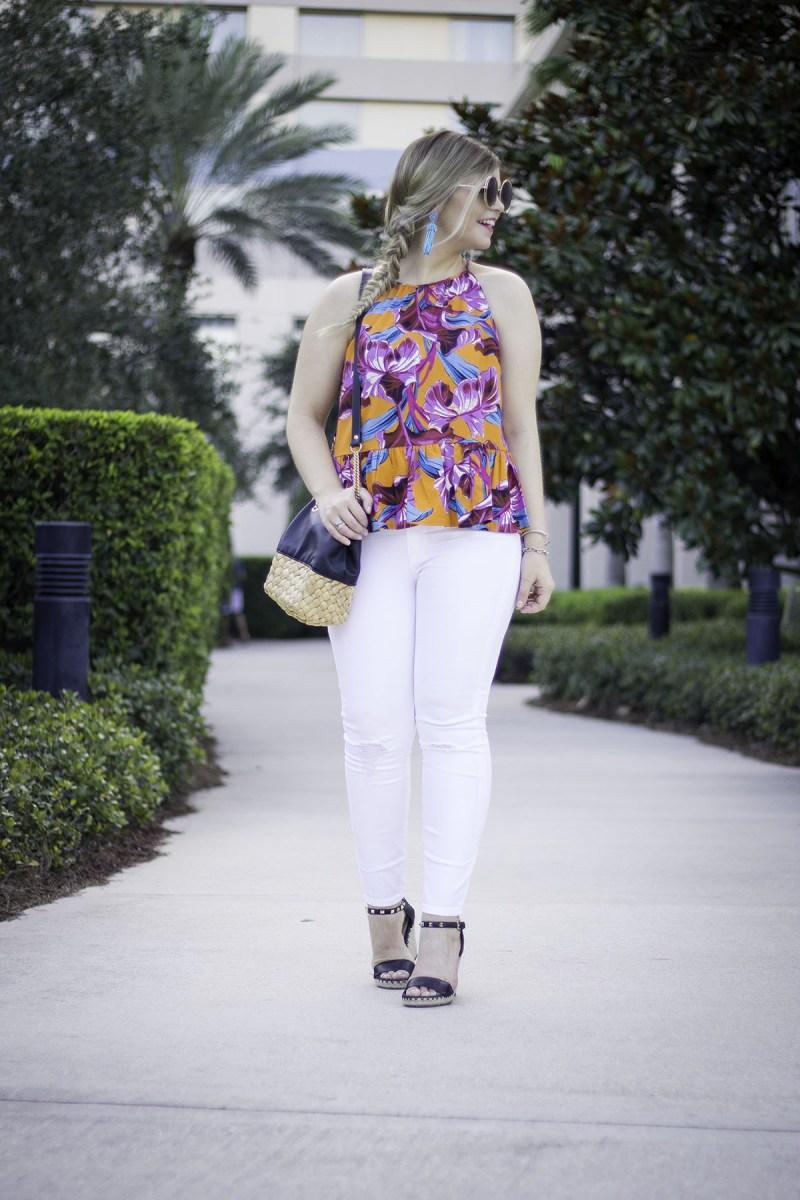 Blogher17 Recap, BlogHer Conference, Orlando FL, Florida Vacation, Hilton Bonnet Creek Florida, Disney, Asos Floral Pepllum top, J Crew White Jeans, Marc Fisher Espadrille Wedges, Turquoise Tassel Earrings, Zara Leather + Straw Bag