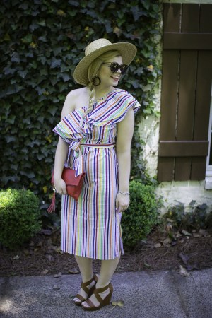 Asos Striped one Shoulder Dress, Rainbow Stripe Dress, Red Tassel Clutch, J Crew Tortiose Earrings, Karen Walker Super Duper Sunglasses, Cognac Wedges, Summer Outfit