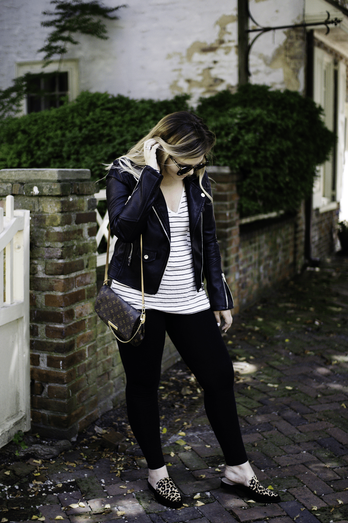 Total Eclipse: Blank NYC Leather Jacket by TN fashion blogger The Glitter Gospel - Blank NYC Leather Jacket, Fall outfits, Tennessee Blogger, BP Striped Tee, Halogen Leopard Flats, Fall Layers, Fall Style, Annapolis MD