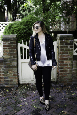 Eclipse: Blank NYC Leather Jacket by TN fashion blogger The Glitter Gospel - Blank NYC Leather Jacket, Fall outfits, Tennessee Blogger, BP Striped Tee, Halogen Leopard Flats, Fall Layers, Fall Style, Annapolis MD