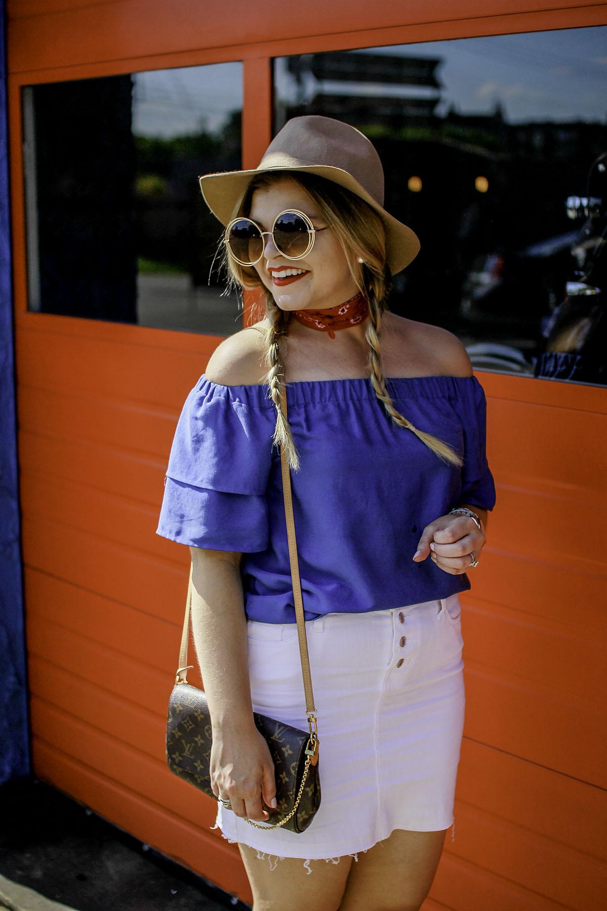 Blue Off Shoulder Top + Nashville Vibes