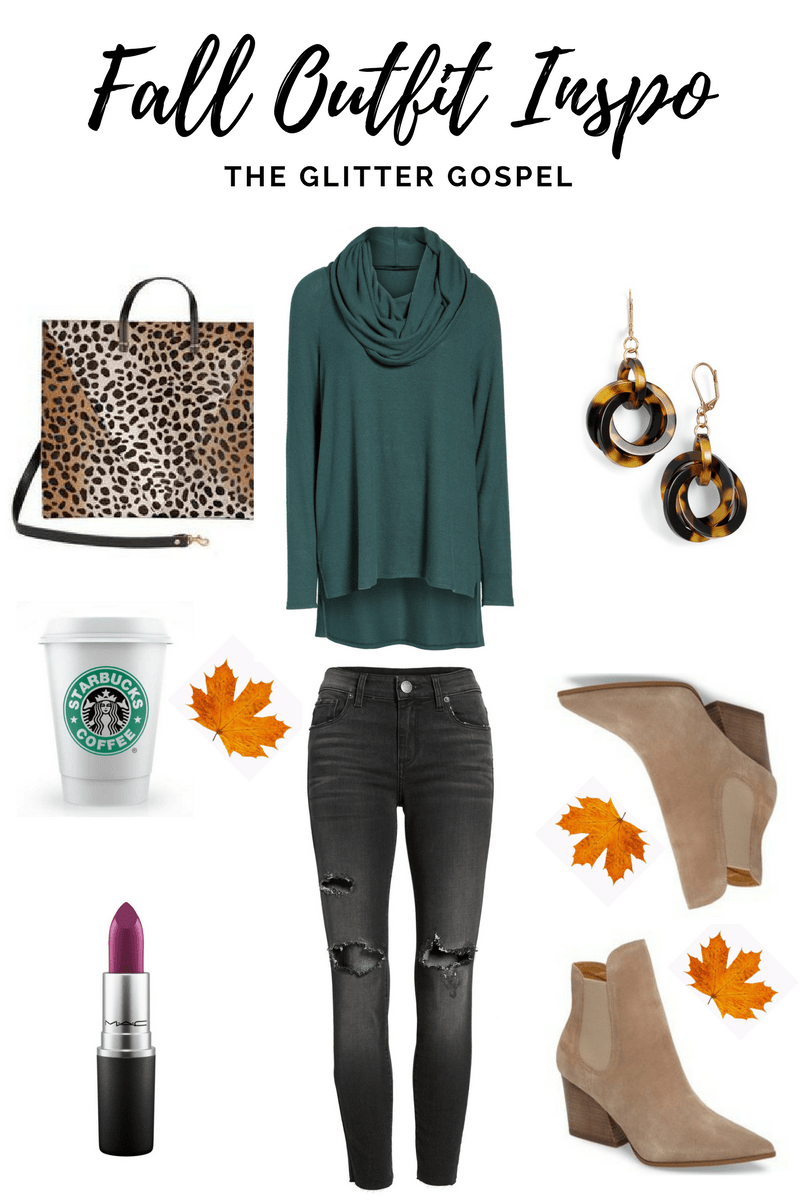 The Glitter Gospel Blog shares fall outfits and color trends for the season. Clare V tote, Forest Green Tunic, Taupe Booties, MAC Rebel, Starbucks PSL